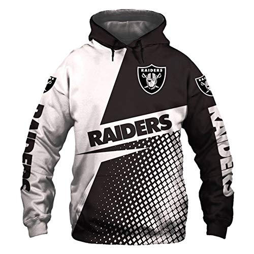 HS-HWH316 American Football Hoodie Oakland Raiders Sweatshirt 3D Printed Sweater Breathable Anti-Pilling Soft Casual Wear Outdoor-Sportarten Feiern Sie Den Super Bowl Fans Souvenirs,2XL