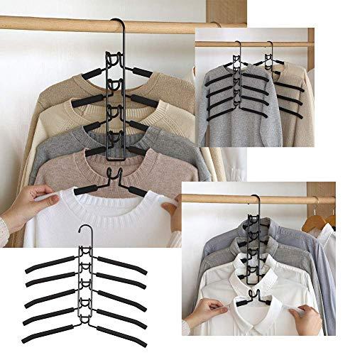 Elitemill 5 IN 1 Multi-Capas Perchas Ropa,Ahorro de Espacio Múltiple Antideslizante Percha para Armario (40 x 38cm)