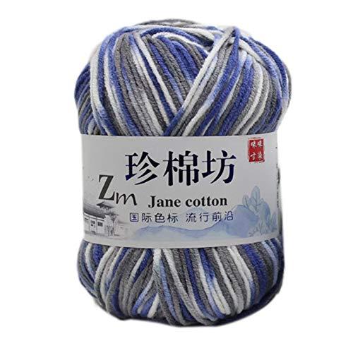 Xiuinserty - Ovillo de lana (50 g, algodón de leche, hilo teñido, teñido, hilo de croché colorido) F: Amazon.es: Hogar
