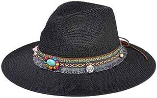 Spring Summer Bohemia Style Women's Jazz Caps Hats with Wide Birm Women Straw Vintage Hat Floppy Sun Beach Church Cap Gorros