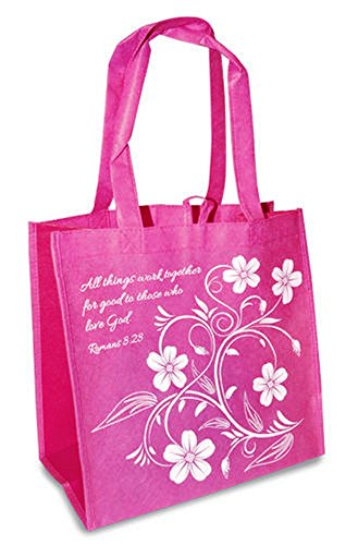 Work All Things Good Romans 8:28 Pink Reusable 12 x 12 Eco Friendly Tote Bag Pack of 4