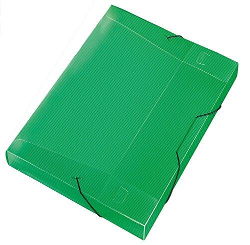Veloflex 4443240 Sammelbox Crystal, DIN A4, transparente PP-Folie, mit Gummizug, Dokumenten-Box, Heft-Box, grün