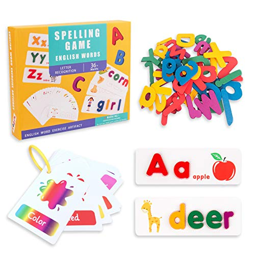 WoSaang See Spelling Learning Toy - 78 Wooden ABC Alphabet and 50 Sight Words Flash Cards Matching Letters Word Puzzle Game Preschool Educational Montessori STEM Toys Giftfor Toddlers Kids Age 3+