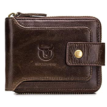 BULLCAPTAIN Genuine Leather Wallet for Men Large Capacity ID Window Card Case with Zip Coin Pocket QB-231  Coffee