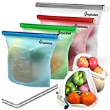 Reusable Silicone Food Bags (Large and Small, Set of 4) + Bonus Stainless Steel Straws & Produce...