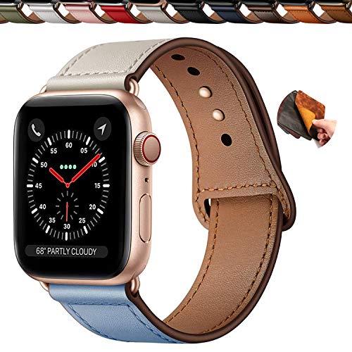 Qeei Correa Piel Compatible with Apple Watch 40mm 38mm,Innovador Hebilla Oculta Cuero Genuino Banda Reemplazo para iWatch SE Series 6 & 5 4 3,Azul Beige