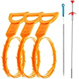 [Longest: 33.4 in] Drain Clog Remover, Drain Cleaning Brush, Clogged Drain Hair Remover, Snake Hair Drain Clog Remover Cleaning Tool For Bath Tub, Kitchen Sink, Toilet etc (5 Pack)