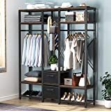 Tribesigns Free Standing Closet Organizer, Metal Garment Rack with Shelves, Hanging Rods and Drawers, Heavy-Duty Closet Storage System Wardrobe Closet for Clothing Shoe Storage