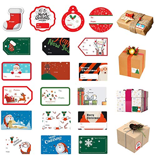 198 PCS Christmas Tags Sticker Self Adhesive, Xmas Name Tag Stickers Santa Snowmen Xmas Tree Deer Design for Festival Presents Wrapping Label Party Favors