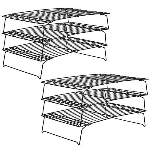 Tebery 2 Stück 3-stöckiges Auskühlgitter, faltbar, 40*25*22 cm, Leichtes Lösen, extra große Auskühlfläche