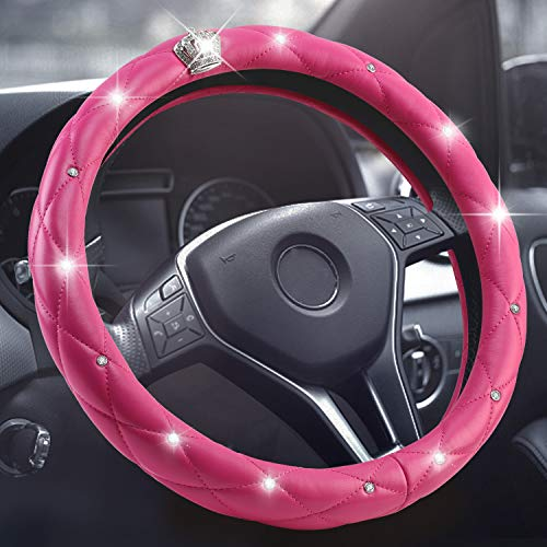 "【Upgraded】 15 inch PU Leather Diamond Crystal Crown Styling Steering Wheel Cover with Bling Bling Crystal Rhinestones, Fit 14.5 to 15"" Car Steering Wheel Fancy Protector for Women Cars (Pink)"
