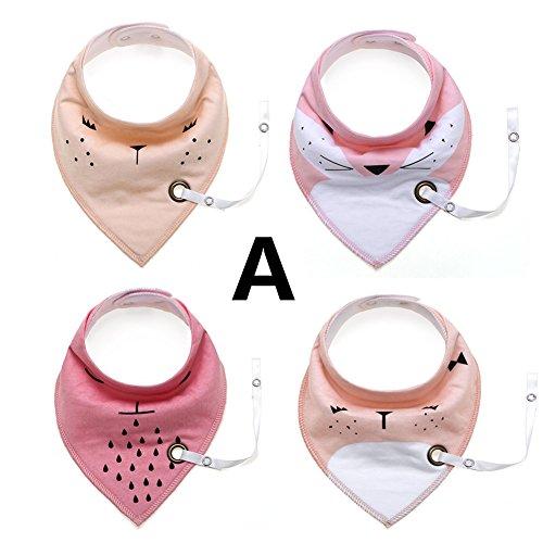 Wonder 4 Pack Cute Triangle Cotton Bandana Baby baberos con cadena de chupete, para niños niñas dentición alimentación recién nacidos bebés niños pequeños regalo (A)