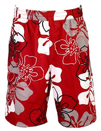 mareno® - Herren Badeshort mit modernem Blumenmuster in rot, in Größe L
