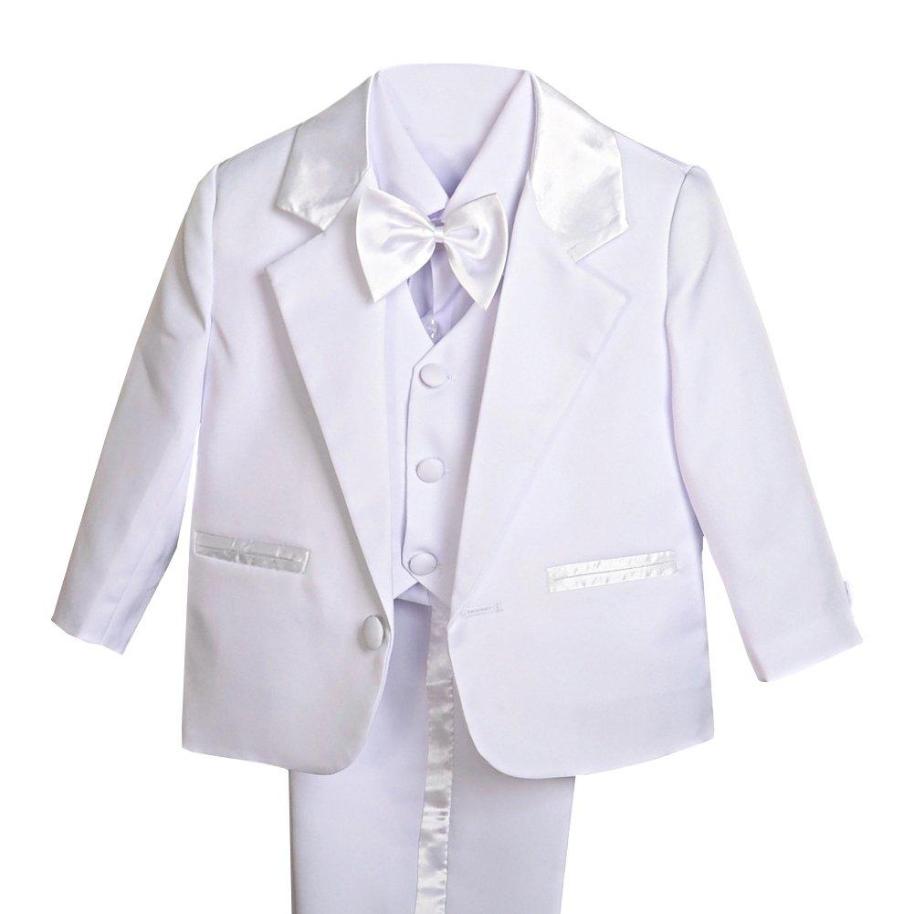 Baby Boy Tuxedo Suit 5 pcs Set Ivory// White Christening Wedding Baptism Birthday