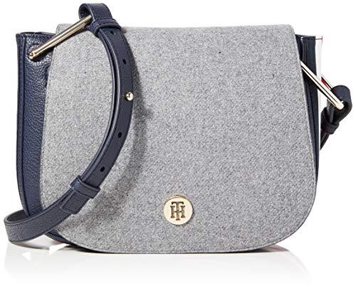 Tommy Hilfiger Damen Th Core Saddle Bag Umhängetasche, Grau (Grey Melton), 5x19x24 cm
