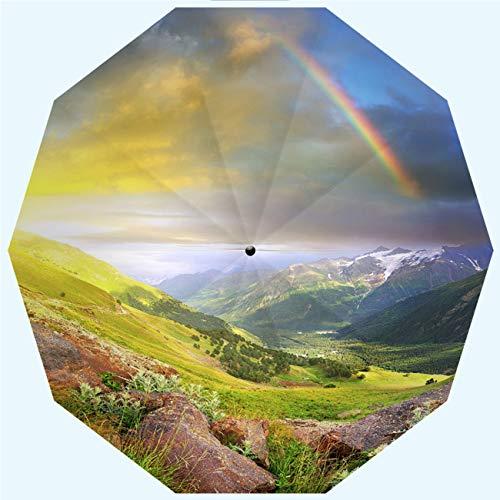 RLDSESS Rainbow Fashion Patio Umbrella, Automatic Opening and Closing,Sundown Rainbow Deep in The Mountains Multicolor,Windproof, Rainproof, Men, Ladies, 10 Ribs, 42 Inches