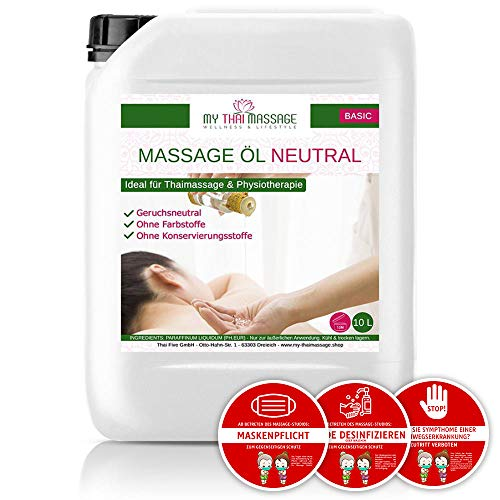 Kitama Massageöl Neutral & Soft 10-Liter MyThaiMassage inkl. 3 Corona Maßnahmen Sticker Aufkleber (Ø 14,8cm) für Thai-Massage Spa