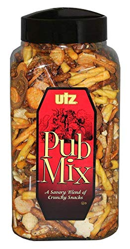 Utz Pub Mix - 44 Ounce Barrel - Savory Snack Mix, Blend of Crunchy Flavors for a Tasty Party Snack - Resealable Container - Cholesterol Free and Trans-Fat Free, 2 Pack