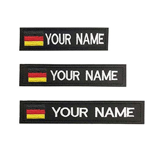 Brillianne Benutzerdefinierte deutsche Militär Name Patch personalisierte gestickte Text Namensschild mit Verschluss Klettverschluss in vielen Größen und Farben (Black)