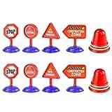 STOBOK 10 Pz Costruzione Stradale Cartello Stradale Set Segnali Stradali Piccolo Giocattolo Fai da Te Mestiere Conoscenza del Traffico Giocattoli di Apprendimento per Auto Treno