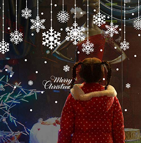 LONGTEN Christmas Window Stickers Combinations, Snowflake Dot Snow Clings Decal Wall Xmas/Holiday/Winter Wonderland White Decorations Ornaments Party Supplies(2 Sheets)