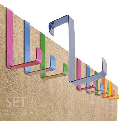 Perchero puerta – conjunto de 10 piezas, colorido – Made in Germany percha puerta sin perforación - colgador especialmente fuerte