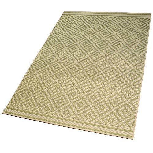 DomDeco In- und Outdoor-Teppich Diamond Raster Green L 140 x 200 cm Kunststoff für Innen und Außen