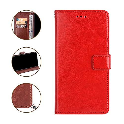 DAYNEW für ZTE Blade V9 Vita Hülle,Tasche Leder Flip Hülle Brieftasche Magnetisch Standfunktion Kartenfächern Handyhülle für ZTE Blade V9 Vita-Rot