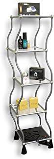 Dancing Standing Shelf , 5-tier Display Shelf Unit , Dazzle and Amaze with It's Elegant Rotations , Sturdy and Vibration-free , Durable Aluminum Frame with Acrylic Shelves , Each Shelf Hold 15 Pounds.