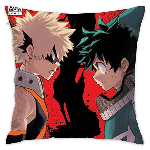 Wrenho My Hero Academia Deku&Bakugo Polyester Fleece Cool Anime Square Hug Pillowcase (18x18 Inch)