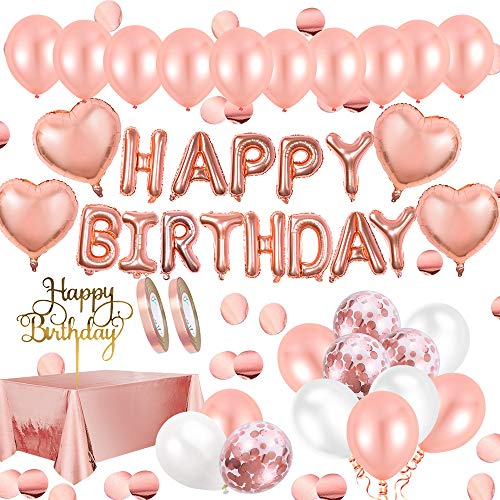 Geburtstagsdeko Rosegold Deko,Aivatoba Happy Birthday Decorations Girlande Balloon, Rosegold Konfetti Luftballons, Tischdeko Geburtstag Deko zum Mädchen