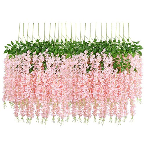 Mungowu 24 Pack 3.6 Feet/Piece Artificial Fake Wisteria Vine Hanging Garland Silk Flowers String Home Party Wedding Decor Extra Long and Thick (24, Light Pink)