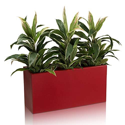 Pot de fleurs VISIO 40 Plastique Bac à Plantes, 80x30x40 cm, rouge mat, garantie de 8 ans (résistance aux UV), résistant au gel - DECORAS bac à plantes haut de gamme