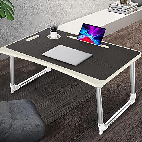 Mesa para Ordenador Portátil, Portátil Mesa Cama Plegable Mesa Escritorio Plegable con Portavasos/ Soporte para Tableta/ Manija (65*45 cm, Negro)