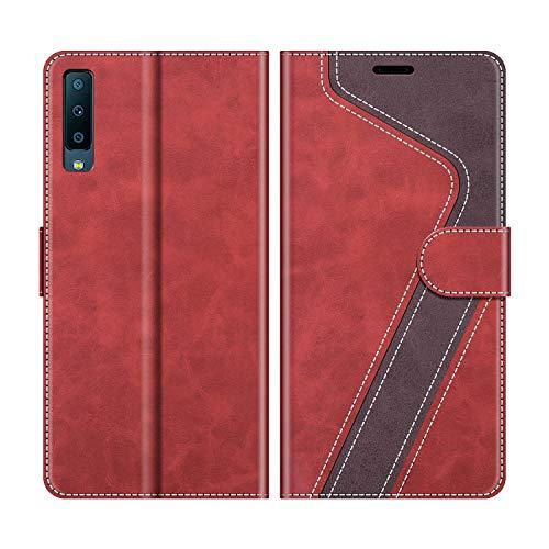 MOBESV Handyhülle für Samsung Galaxy A7 2018 Hülle Leder, Samsung Galaxy A7 2018 Klapphülle Handytasche Hülle für Samsung Galaxy A7 2018 Handy Hüllen, Modisch Rot