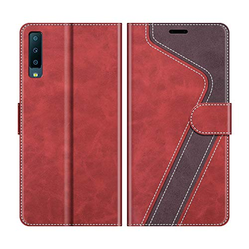 MOBESV Funda para Samsung Galaxy A7 2018, Funda Libro Samsung A7 2018, Funda Móvil Samsung Galaxy A7 2018 Magnético Carcasa para Samsung Galaxy A7 2018 Funda con Tapa, Rojo