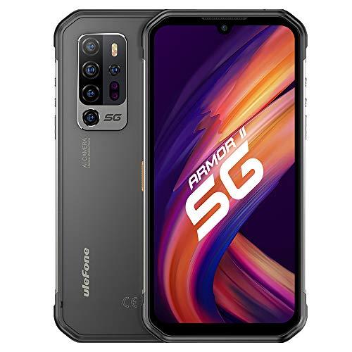 5G Smartphone Resistente Ulefone Armor 11, Dimensity 800 8GB RAM 256GB ROM, 48MP Cinco Cámara Vision Nocturna, Móvil Antigolpes IP68 IP69K Android 10, 6.1'' Pantalla, Carga Inalámbrica NFC Dual SIM