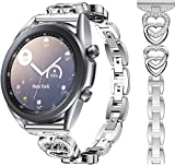 HATALKIN for Samsung Galaxy Watch 3 Band 41mm / Galaxy Active 2 Band 40mm 44mm for Women Replacement for Galaxy Watch 3 41mm Bands Women 20mm Bracelet Bling Alloy Crystal Rhinestone Diamond