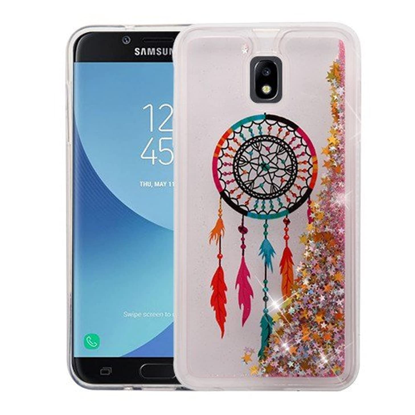 CaseyCase For SAMSUNG GALAXY J7 REFINE, J7 (2018), J737P Case, [Flowing Liquid Quicksand Glitter Sand Series] [Sparkle Bling] Protective Hybrid TPU Bumper Back Cover (Dreamcatcher)