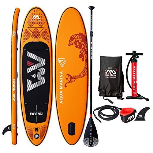 "10'4"" Inflatable Stand Up Paddle Board 6"" Thick Aqua Marina Fusion SUP with Double Action Pump, Magic Backpack, Slide-in Center Fin, Sports III Paddle and Safety Leash"