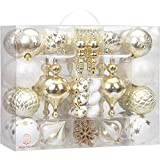 Sea Team 85-Pack Assorted Shatterproof Christmas Ball Ornaments Set Decorative Baubles Pendants with Reusable Hand-held Gift Package for Xmas Tree (Gold & White)