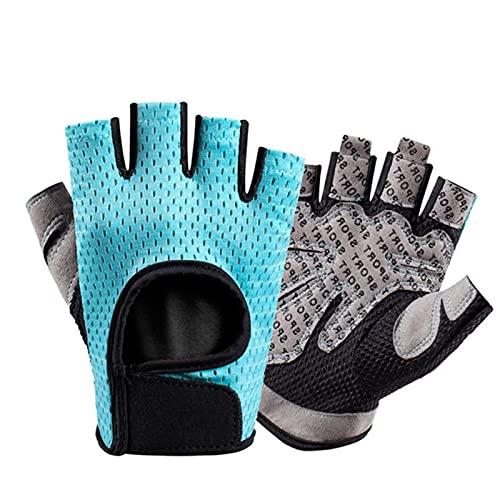 UKKD Guantes para Moto Guantes De Fitness Transpirables Silicone Palm Hallow Back Gym Gloves Levantamiento De Pesas Entrenamiento De Pesas Culturismo De Pesas-Type C--Blue,S