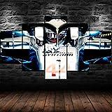 37Tdfc Cuadro Moderno en Lienzo XXL Modelo Pintura Pared 5 Piezas Impresión Material Abstracto Artística Mural Enmarcado Imagen Moderna Ministerio Interior Décor Lewis Hamilton F1 Campeón Mercedes