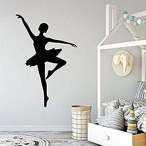 Pegatinas de pared,Bailarina Decoración de pared de vinilo para habitaciones de niñas Decoración Tatuajes de pared Pegatinas extraíbles Murales 43 * 64 cm