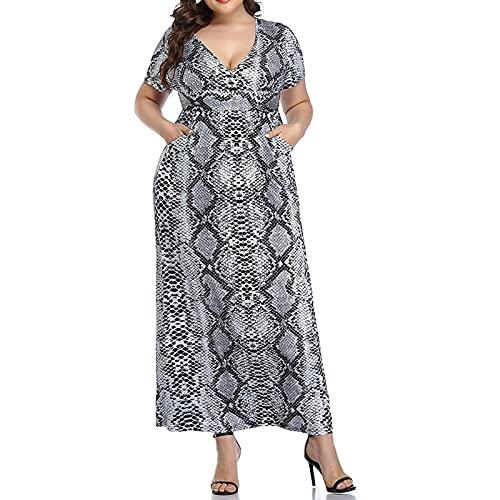 Dress - Vestido de verano para mujer con estampado floral a temperatura con falda en la cintura y cuello en V, estilo retro Negro1 XL