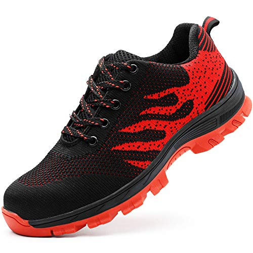 Zapatos de seguridad, ligeros, Kevlar, para hombres y mujeres, zapatos de trabajo, puntera de acero, transpirables, zapatillas de protección, color Rojo, talla 43 EU