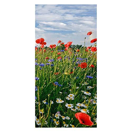 wandmotiv24 Türtapete Blumenwiese 100 x 200cm (B x H) - Papier Tapete, Tür-Aufkleber, Türbild, Wandbild M0493