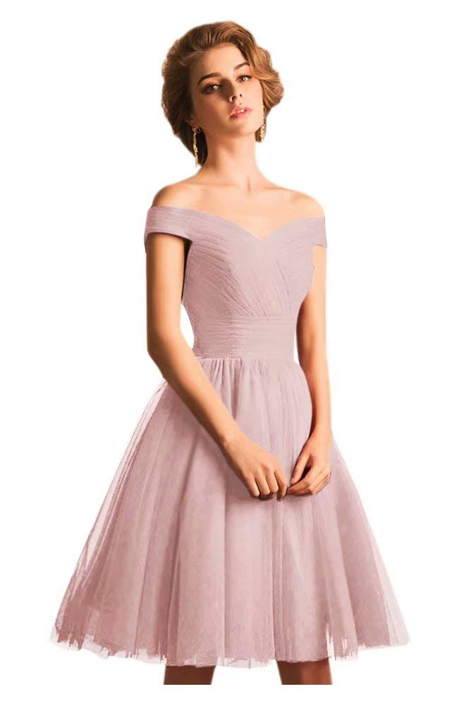 Available at Amazon: Harsuccting Off The Shoulder Ruffles Tulle Short Homecoming Dress Prom Gowns