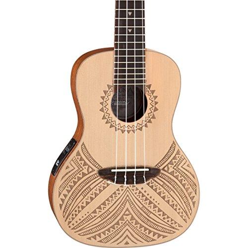 Luna Tapa Solid Spruce Acoustic/Electric Concert Ukulele with Preamp & Gig Bag, Satin Natural