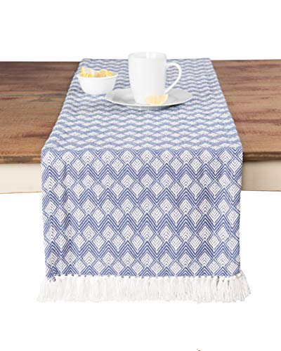 Sticky Toffee Cotton Woven Table Runner with Fringe, Scalloped Diamond, Blue, 14 in x 72 in